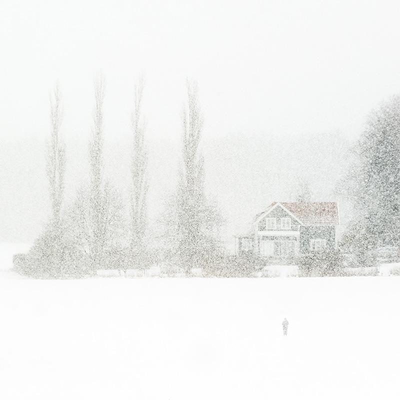 #15. Skidåkare i snöyra, fotograf Johan Blomqvist