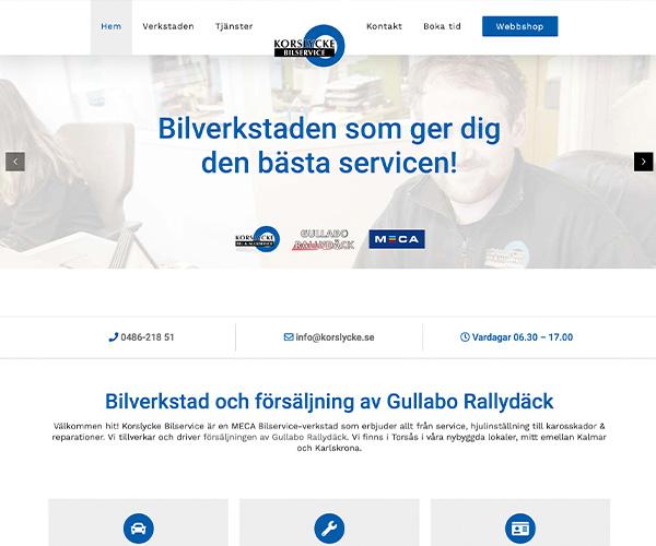 Hemsida Korslycke Bilservice - Portfolio Webb&Form