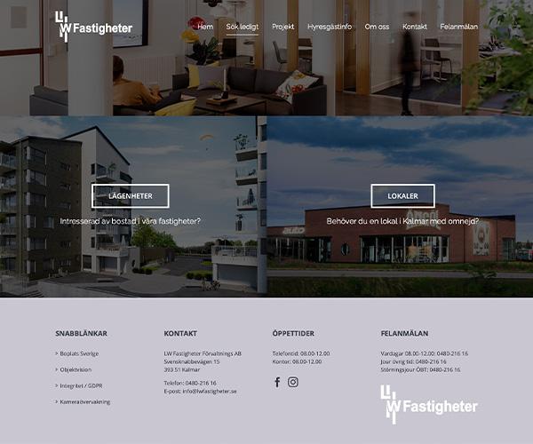 Hemsida LW Fastigheter- Portfolio Webb&Form