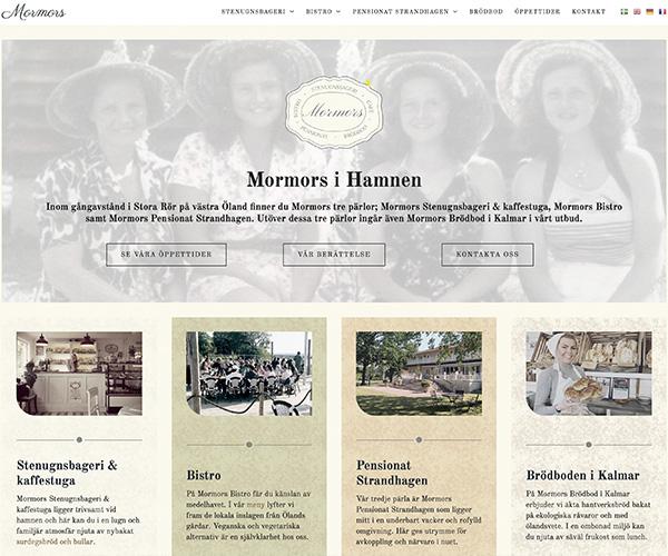 Hemsida Mormors i Hamnen - Portfolio Webb&Form